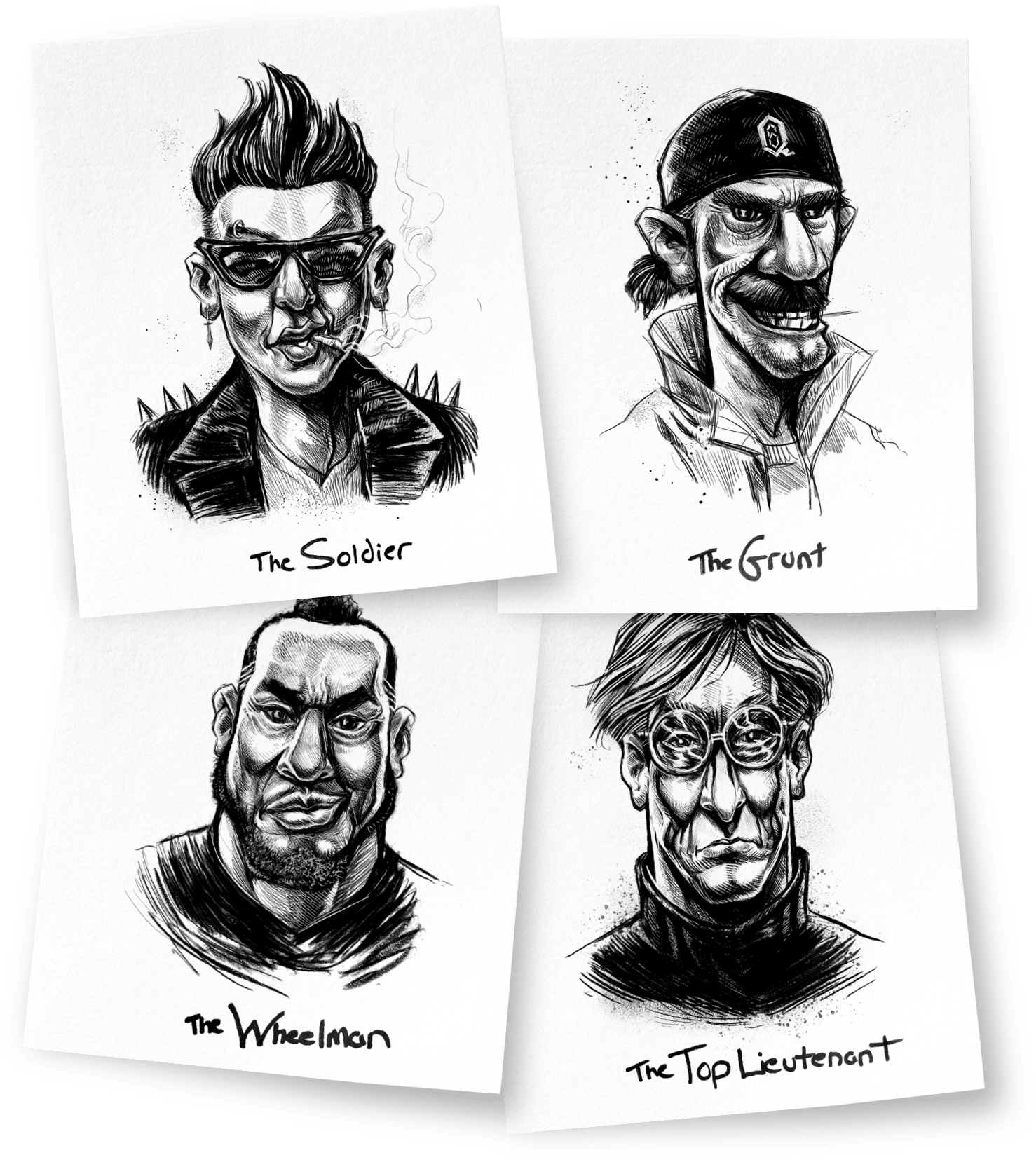 Mugshots of the crew: The Soldier, The Grunt, The Wheelman, The Top Lietenant